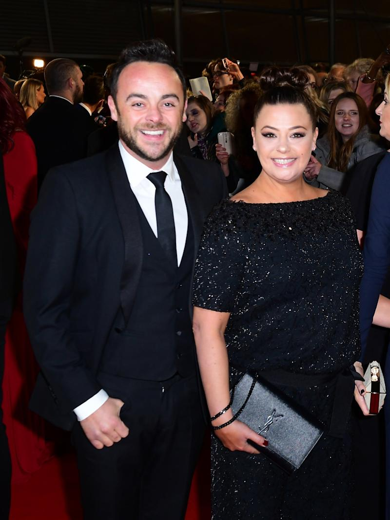 Split: Ant McPartlin and Lisa Armstrong at the National Television Awards in January 2017 (PA)