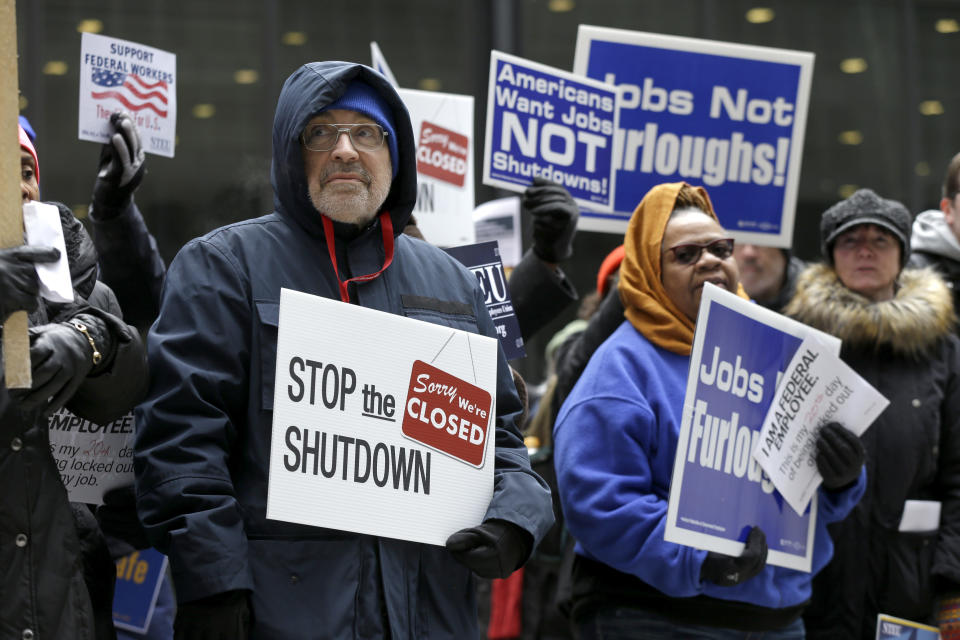 Government workers rally against the partial government shutdown at Federal Plaza, Thursday, Jan. 10, 2019, in Chicago. (Photo: Kiichiro Sato/AP)