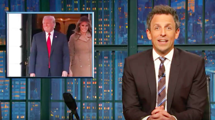 Seth Meyers Roasts Trump For Using 'Ghostbusters' Theme Song For Entrance At Halloween Party