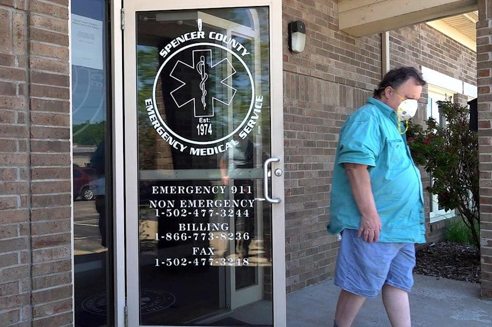 A man leaves a clinic after receiving a dose of the COVID-19 vaccine in Taylorsville, Kentucky (AP)