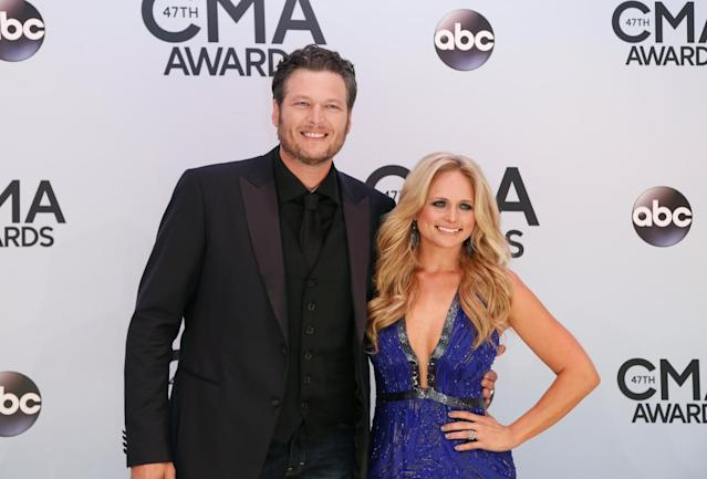 Blake Shelton and Miranda Lambert at the CMA Awards in November 2013. (Photo: Reuters/Eric Henderson)