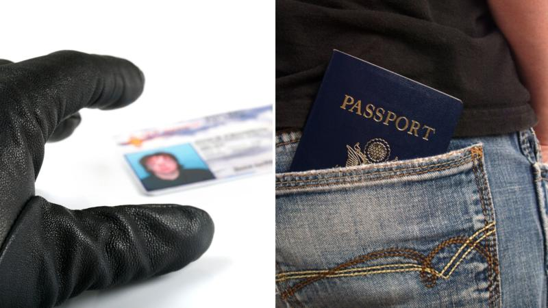 A gloved hand taking a driver's licence on the left, and a passport in a back pocket.