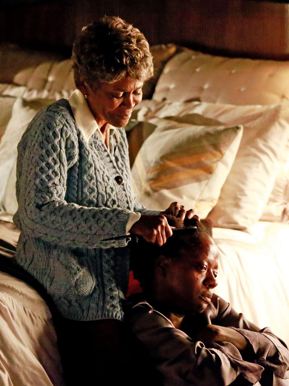 <p>There was truly no better pairing for this scene than Viola Davis, who played Annalise Keating, and the great Cicely Tyson, who performed as her mother. During this episode, Annalise falls apart emotionally, and looks for comfort by going back to a childhood ritual Black women know so well: sitting between her mother's knees and letting her mom comb her hair. </p>