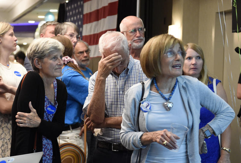 Supporters for Dan McCready, Lolo Pendergrast, from left, Marc and Mattye Silverman react after McCready lost a special election for United States Congress in North Carolina's 9th Congressional District to Republican, Dan Bishop, Tuesday, Sept. 10, 2019, in Charlotte, N.C. (AP Photo/Kathy Kmonicek)