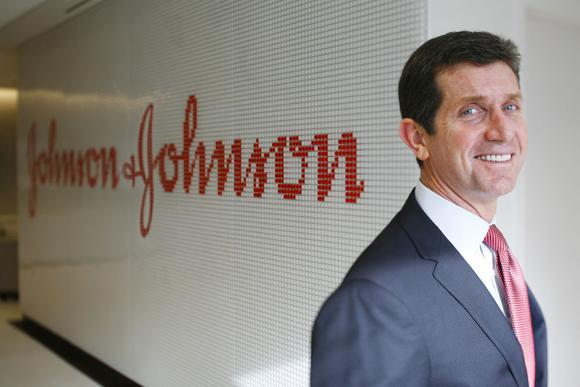 Johnson & Johnson CEO Alex Gorsky posing for a photo in the company's headquarters.