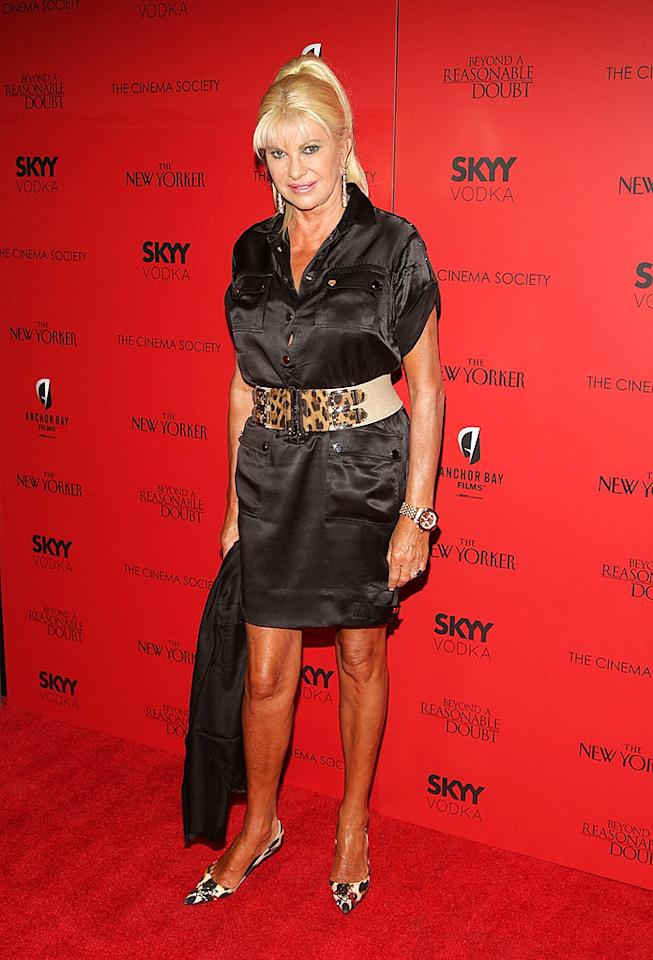 "Ivana Trump followed Carson on the red carpet and delivered an eyesore of her own in a belted satin shirt dress, mismatched heels, hair extensions, and a distracting orange glow. Stephen Lovekin/<a href=""http://www.gettyimages.com/"" target=""new"">GettyImages.com</a> - September 9, 2009"