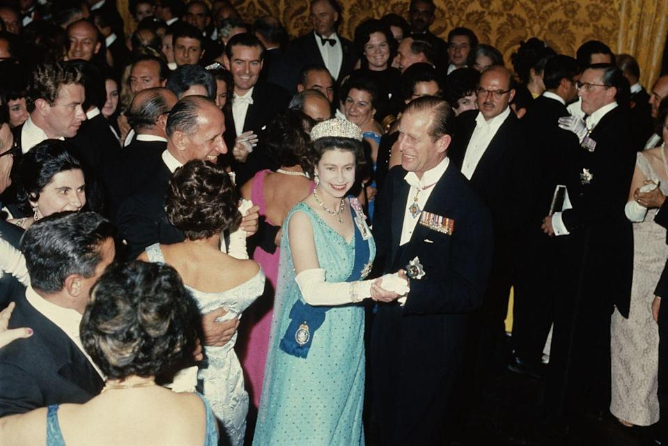 <p>Queen Elizabeth II and Prince Philip, dancing at a state ball at the palace in Valletta during a Commonwealth Visit to Malta in November 1967.</p>