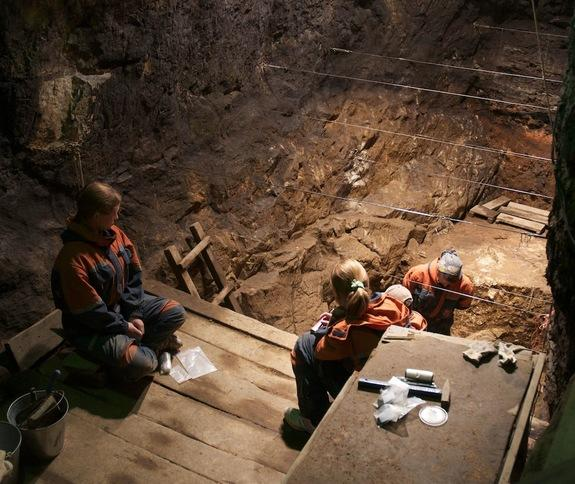 Another view of the excavation of Denisova Cave.
