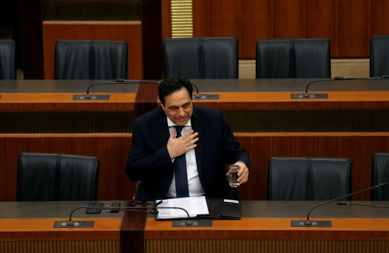 FILE PHOTO: Lebanon's Prime Minister Hassan Diab attends a parliament session at the parliament building in downtown Beirut
