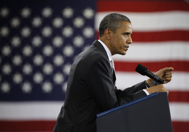 President Barack Obama speaks a fundraiser at Southern Maine Community College, Friday, March, 30, 2012 in Portland, Maine. Obama campaigned throughout New England on Friday. (AP Photo/Pablo Martinez Monsivais)