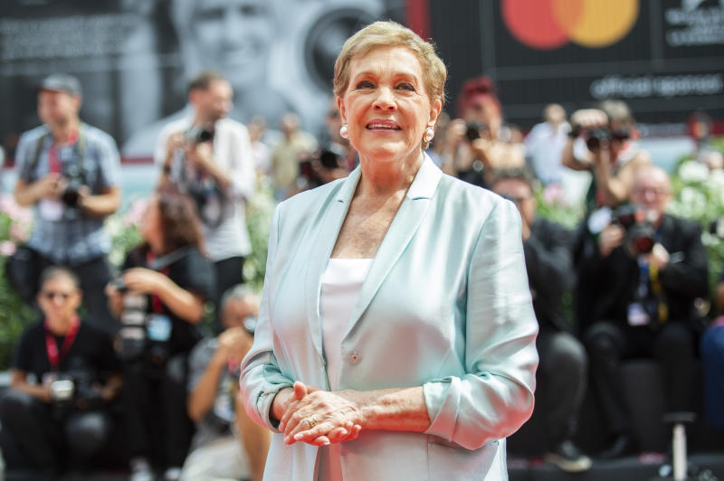 Actress Julie Andrews poses for photographers upon arrival at the Golden Lion for Lifetime Achievement Award presentation at the 76th edition of the Venice Film Festival, Venice, Italy, Monday, Sept. 2, 2019. (Photo by Arthur Mola/Invision/AP)