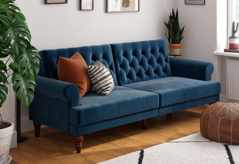 Strut your stuff with a peacock-blue velvet sofa bed! (Photo: Walmart)