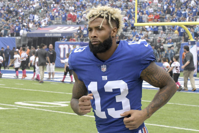 New York Giants wide receiver Odell Beckham will be part of trade speculation this offseason. (AP)