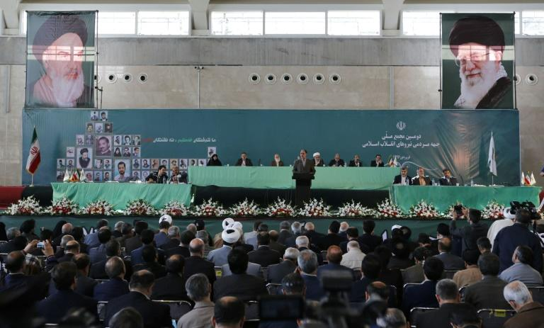 View of the general assembly of conservatives, in Tehran to decide on a shortlist of five candidates for the presidential election Conservatives are trying to rally around a single figure in a bid to focus their attack on President Hassan Rouhani, who has succeeded in uniting moderates and reformists. The election will be held on May 19