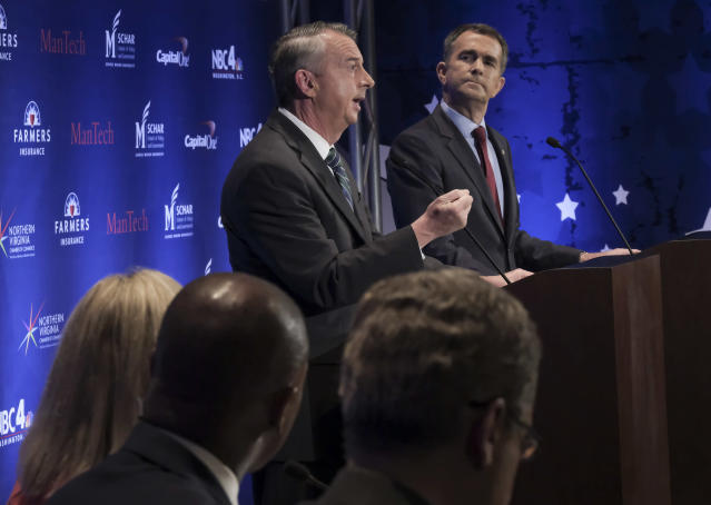 Republican Ed Gillespie speaks during the second gubernatorial debate with Democrat Ralph Northam in Washington. (Photo: Washington Post)