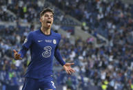 Chelsea's Kai Havertz celebrates after scoring his side's opening goal during the Champions League final soccer match between Manchester City and Chelsea at the Dragao Stadium in Porto, Portugal, Saturday, May 29, 2021. (Jose Coelho/Pool via AP)