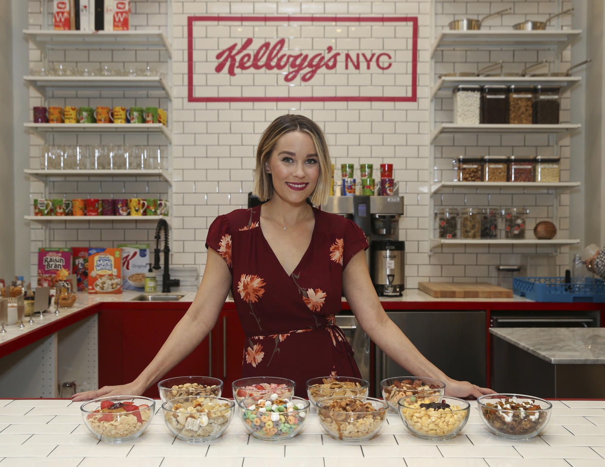 IMAGE DISTRIBUTED FOR KELLOGG'S - Designer, foodie and lifestyle expert Lauren Conrad designed several cereal creations for the new Union Square Kellogg's® NYC Café on Tuesday, Dec. 12, 2017, in New York. (Mark Von Holden/AP Images for Kellogg's)