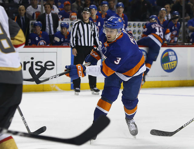 New York Islanders defenseman Adam Pelech (3) scores goal against the Vegas Golden Knights during the second period of an NHL hockey game, Wednesday, Dec.12, 2018, in New York. (AP Photo/Noah K. Murray)