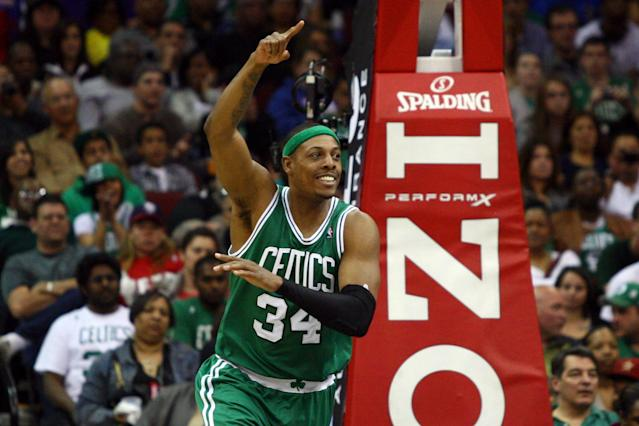 NEWARK, NJ - APRIL 14: Paul Pierce #34 of the Boston Celtics reacts after he made a 2-point basket in the second half against the New Jersey Nets at Prudential Center on April 14, 2012 in Newark, New Jersey. NOTE TO USER: User expressly acknowledges and agrees that, by downloading and or using this photograph, User is consenting to the terms and conditions of the Getty Images License Agreement. (Photo by Chris Chambers/Getty Images)