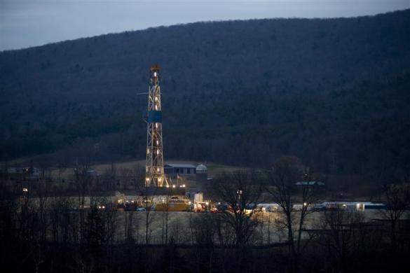 A natural gas well is drilled near Canton, in Bradford County, Pennsylvania January 8, 2012.
