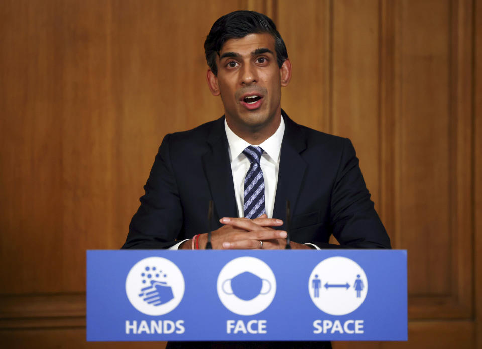 Britain's chancellor of the exchequer Rishi Sunak during a coronavirus briefing, in Downing Street, London. Photo: Henry Nicholls/Pool via AP