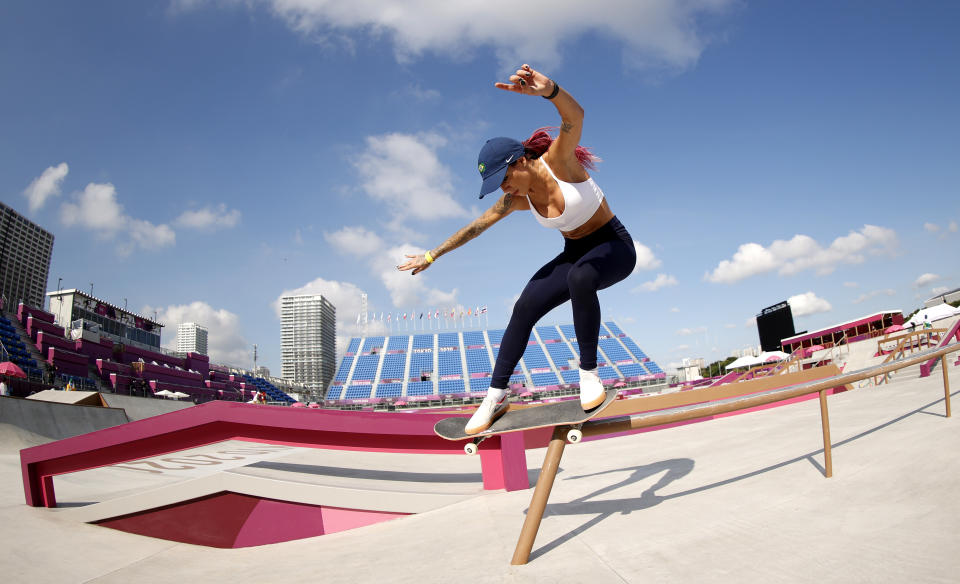 TOKYO, JAPAN - JULY 22:  Leticia Bufoni of Team Brazil practices on the skateboard street course ahead of the 2020 Tokyo Summer Olympic Games at the Ariake Urban Sports Park on July 22, 2021 in Tokyo, Japan. The Ariake Urban Sports Park will host skateboarding and BMX cycling events.  (Photo by Ezra Shaw/Getty Images)
