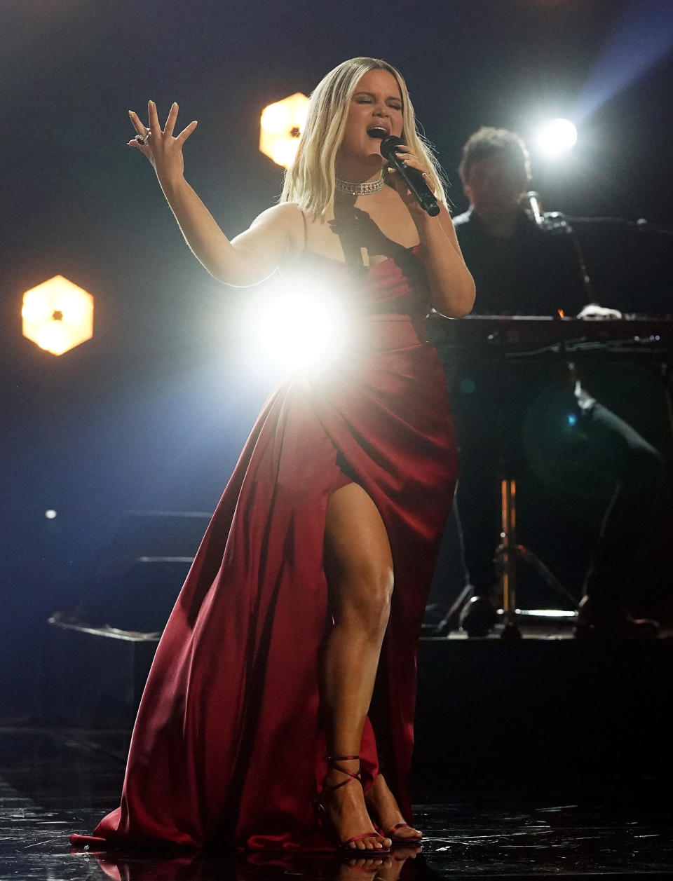 """FILE - Maren Morris performs """"The Bones"""" at the 63rd Grammy Awards on March 9, 2021 in Los Angeles. Morris turns 31 on April 10. (AP Photo/Chris Pizzello, File)"""