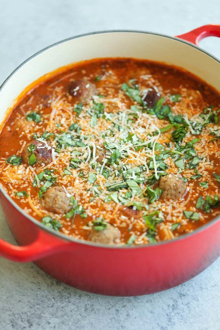 "<strong>Get the <a href=""http://damndelicious.net/2016/02/06/spaghetti-and-meatball-soup/"" target=""_blank"">Spaghetti and Meatball Soup recipe </a>from Damn Delicious</strong>"