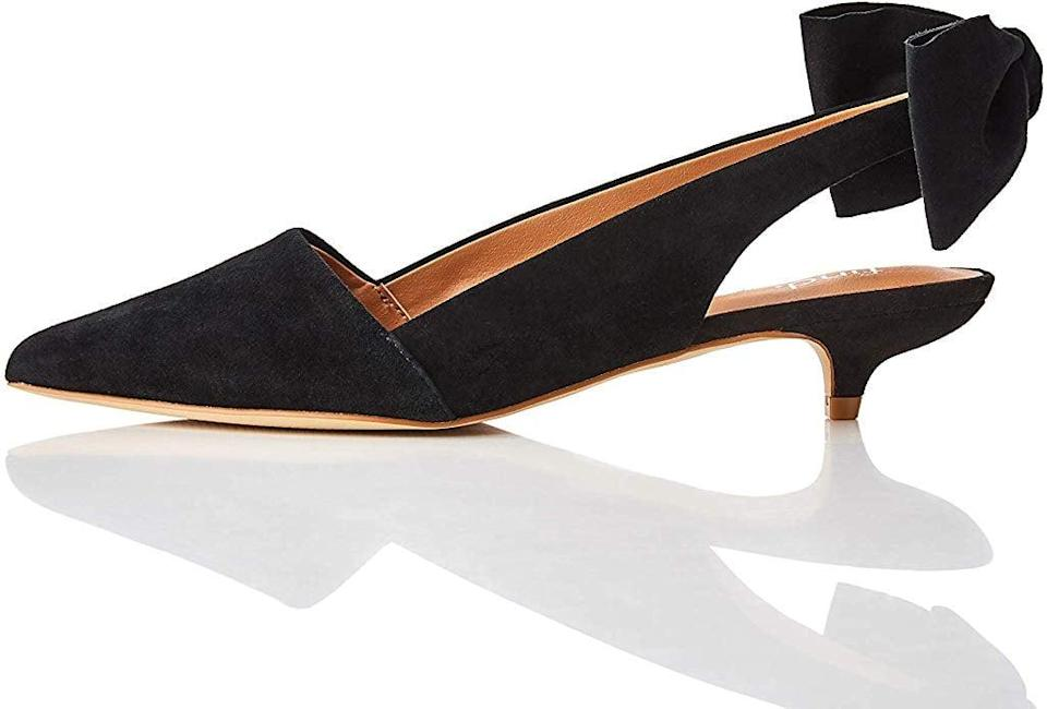 """<p>These <a href=""""https://www.popsugar.com/buy/Find-Slingback-Suede-Pumps-523528?p_name=Find.%20Slingback%20Suede%20Pumps&retailer=amazon.com&pid=523528&price=49&evar1=fab%3Aus&evar9=46971466&evar98=https%3A%2F%2Fwww.popsugar.com%2Ffashion%2Fphoto-gallery%2F46971466%2Fimage%2F46971787%2FFind-Slingback-Suede-Pumps&list1=shopping%2Camazon%2Choliday%2Ceditors%20pick%2Cwinter%20fashion%2Choliday%20fashion%2Cfashion%20shopping&prop13=mobile&pdata=1"""" rel=""""nofollow noopener"""" class=""""link rapid-noclick-resp"""" target=""""_blank"""" data-ylk=""""slk:Find. Slingback Suede Pumps"""">Find. Slingback Suede Pumps</a> ($49) also come in red. I like them because they're fancy enough to wear for a party, but comfortable enough to stand in for hours.</p>"""