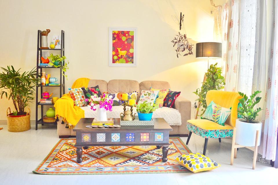 The living room reflects Preeti's boho style and is vibrant with colours, patterns and textures aplenty.