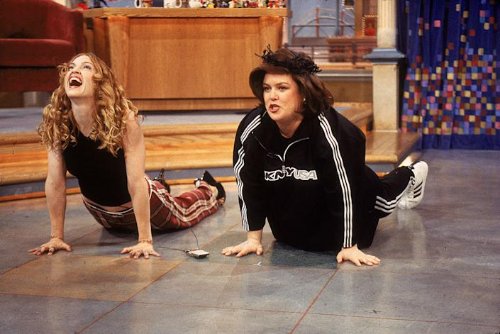 Rosie O'Donnell's friend Madonna appears on The Rosie O'Donnell Show on March 13, 1998. (Photo: Frank Micelotta/Getty Images)