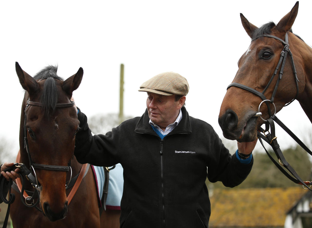 Britain Horse Racing - Nicky Henderson Stable Visit - Cheltenham Festival Preview - Seven Barrows, Lambourn, Hungerford, Berkshire - 22/2/17 Trainer Nicky Henderson with Top Notch (L) and Whisper (R) during the stable visit Action Images via Reuters / Matthew Childs Livepic