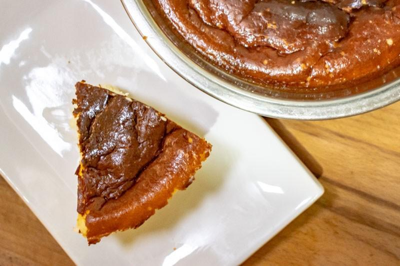 Final product of our simple-stay home recipe: Air Fryer Basque Burnt Cheesecake