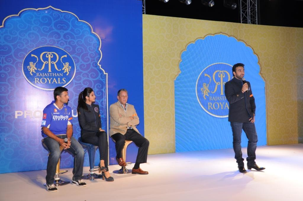 Rahul Dravid, Shilpa Shetty, Ranjit Barthakur (Chairman, Operation Smile India) and Raj Kundra at the the Rajasthan Royals-Provogue Fanwear Launch at Hotel Marriott in Jaipur on Monday