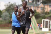 Timothy Cheruiyot, winner of the 1500 meters gold medal at the 2019 World Athletics Championships in Doha, runs during a training session in Nairobi