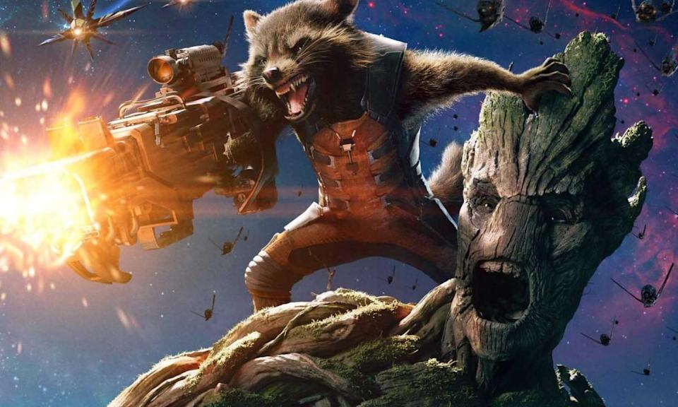Rocket (the Raccoon, but don't call him that) and Groot in artwork for 'Guardians of the Galaxy'. (Credit: Marvel)