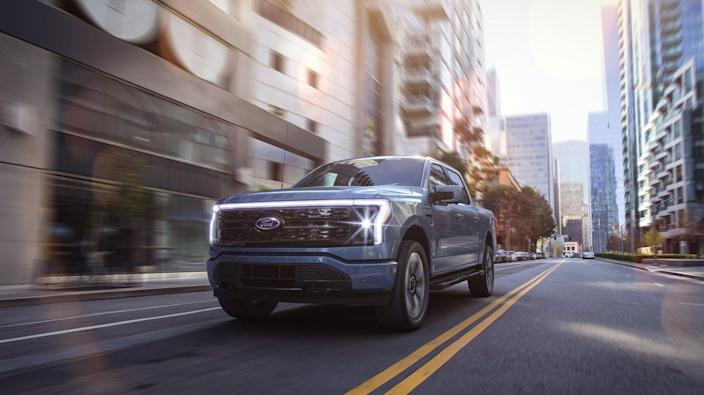 """<span class=""""caption"""">Ford calls its all-electric F-150 Lightning """"the truck of the future.""""</span> <span class=""""attribution""""><a class=""""link rapid-noclick-resp"""" href=""""https://media.ford.com/content/fordmedia/fna/us/en/news/2021/05/19/all-electric-ford-f-150-lightning.html"""" rel=""""nofollow noopener"""" target=""""_blank"""" data-ylk=""""slk:Ford"""">Ford</a>, <a class=""""link rapid-noclick-resp"""" href=""""http://creativecommons.org/licenses/by-nd/4.0/"""" rel=""""nofollow noopener"""" target=""""_blank"""" data-ylk=""""slk:CC BY-ND"""">CC BY-ND</a></span>"""