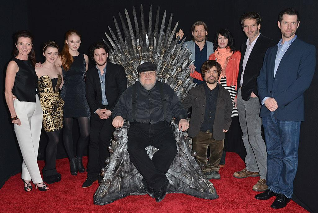 "Michelle Fairley, Maisie Williams, Sophie Turner, Kit Harington, executive producer George R.R. Martin, Nikolaj Coster-Waldau, Peter Dinklage, Lena Headey, co-creator/executive producer David Banioff and co-creator/executive producer D.B. Weiss attend The Academy of Television Arts & Sciences'  presentation of An Evening With ""Game of Thrones"" at TCL Chinese Theatre on March 19, 2013 in Hollywood, California."