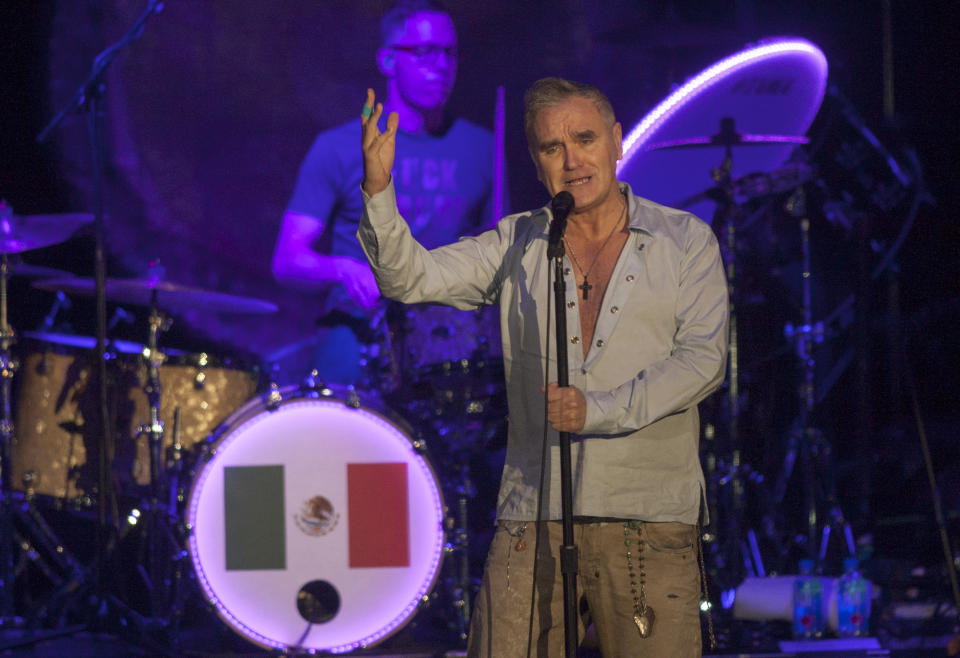 Morrissey performs during his concert in the Citibanamex arena in Monterrey Nuevo Leon on March 29, 2017.  (JULIO CESAR AGUILAR/AFP via Getty Images)