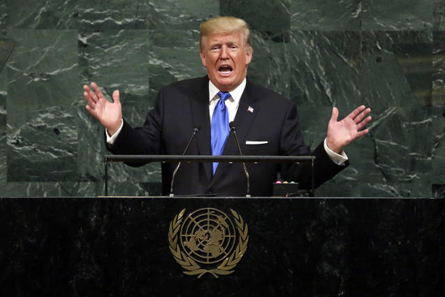 President Trump addresses the 72nd session of the United Nations General Assembly, at U.N. headquarters in September 2017. (Photo: Richard Drew/AP)