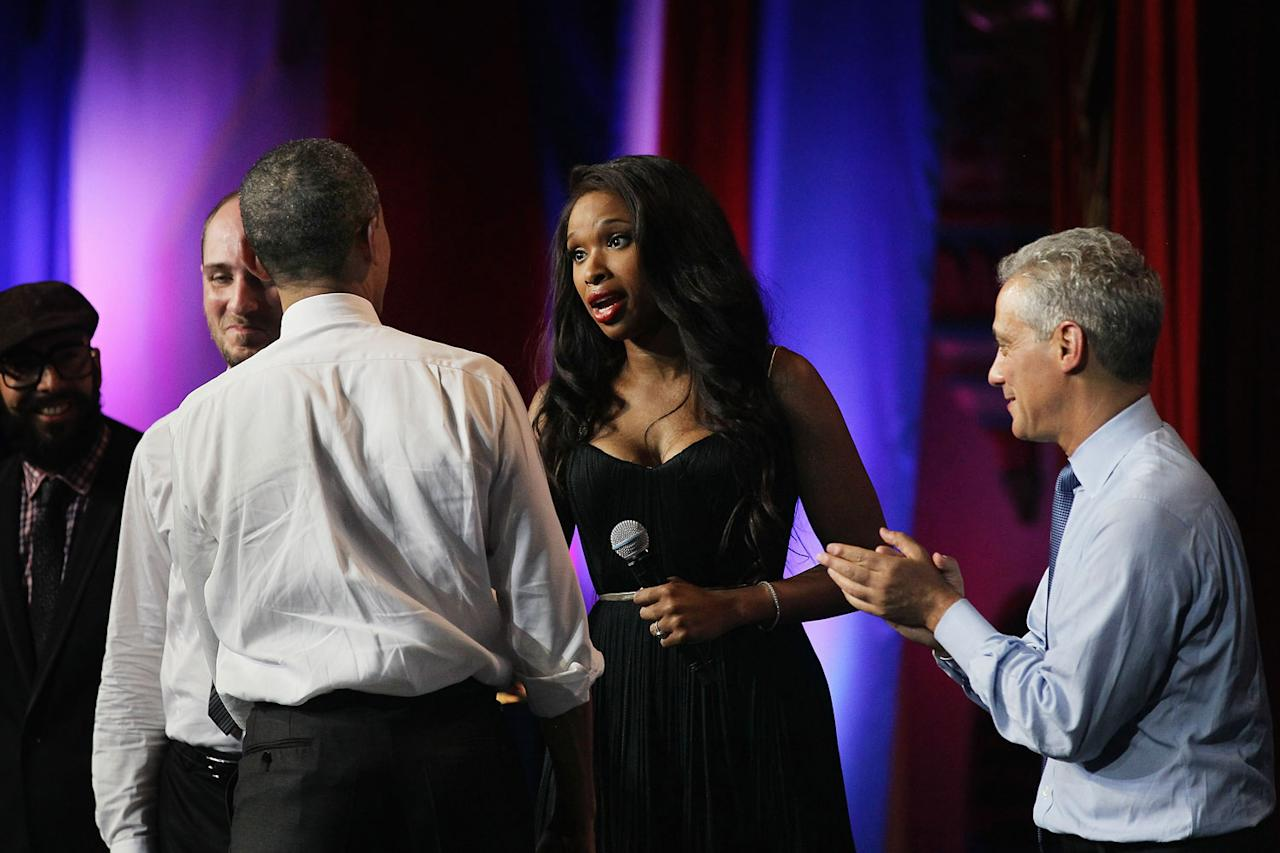 <p>Hudson greets the president during a 2011 fundraiser/birthday celebration in Chicago for Obama, who was turning 50.</p>
