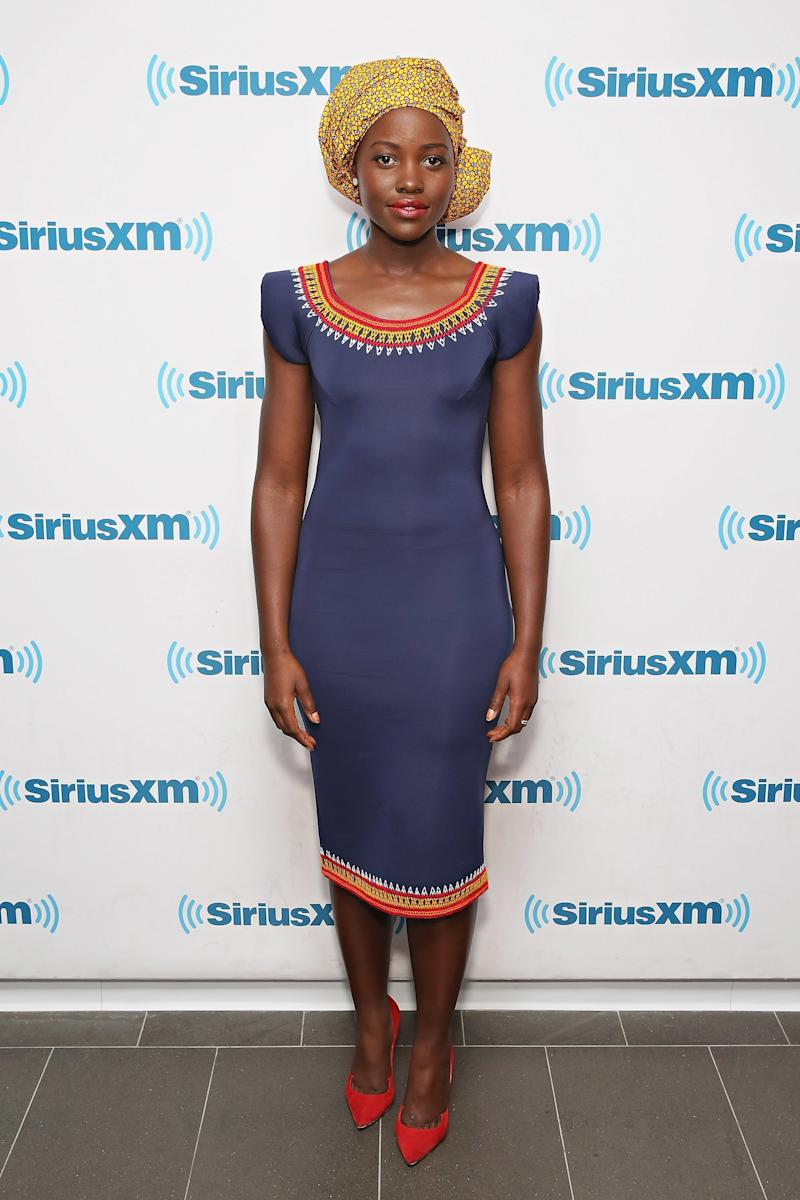 Lupita Nyong'o in Kibonen NY promoting Queen of Katwe at Sirius XM Studios in New York, New York, September 2016.