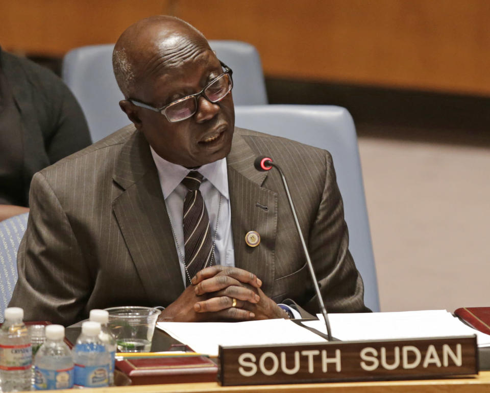 Dr. Francis Madin Deng, South Sudan's UN ambassador, speaks during a United Nations Security Council meeting at UN headquarters Tuesday, Dec. 24, 2013. The U.N. Security Council voted to temporarily increase the U.N. peacekeeping force in conflict-torn South Sudan to 12,500 troops from 7,000, a nearly 80 percent increase. (AP Photo/Kathy Willens)