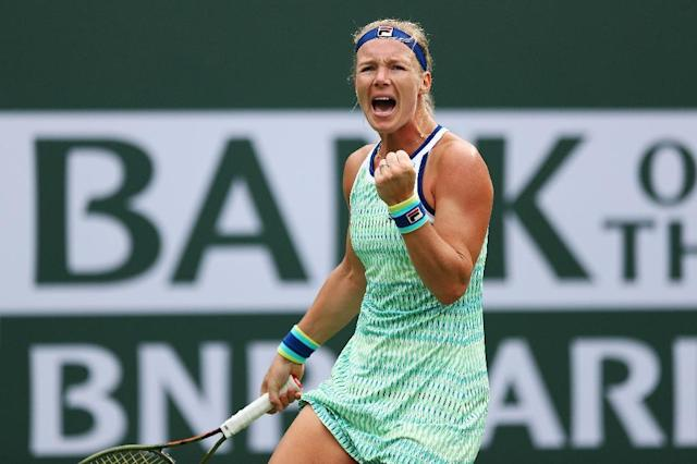 Seventh-seeded Kiki Bertens of the Netherlands celebrates her third-round WTA victory over Britain's Johanna Konta at Indian Wells (AFP Photo/Yong Teck Lim)