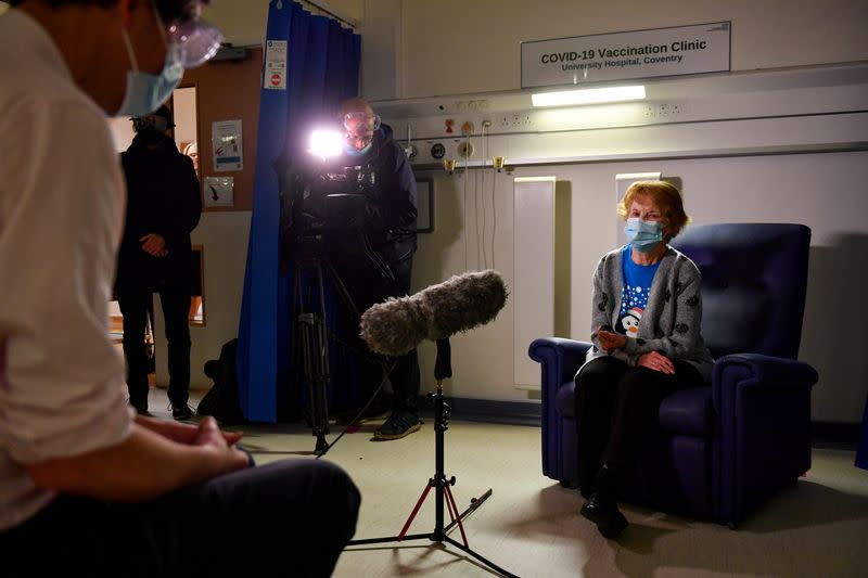 Margaret Keenan, 90, speaks to the media after becoming the first patient in Britain to receive the Pfizer/BioNtech COVID-19 vaccine at University Hospital in Coventry