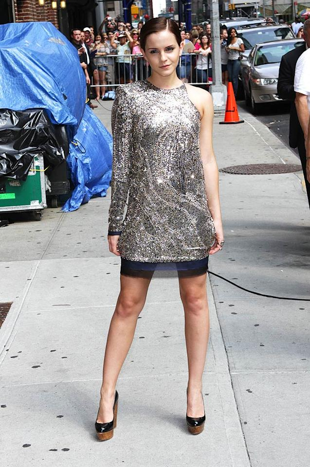 """Last but not least, we have """"Harry Potter"""" hottie Emma Watson, who wore this eye-catching ensemble to a recent taping of """"The Late Show With David Letterman."""" While I love the usually fashionable Emma and her chic 'do, I'm not feeling her one-shouldered Balmain bomb or the fact that she paired cork Christian Louboutin wedges with such a flashy frock. What about you?   Follow What Were They Thinking?! creator, <a href=""""http://bit.ly/lifeontheMlist"""" target=""""new"""">Matt Whitfield</a>, on Twitter! Richie Buxo/<a href=""""http://www.splashnewsonline.com"""" target=""""new"""">Splash News</a> - July 11, 2011"""