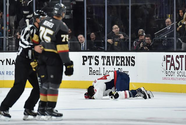 Instagram and Twitter posts promoting Ryan Reaves-signed photos of an injured Tom Wilson have been deleted by the company, and the pictures have been destroyed, apparently. (Getty)