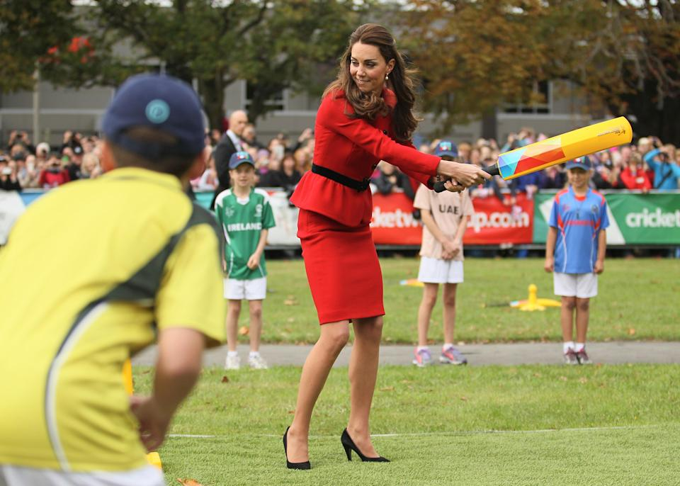 <p>During the couple's 2014 tour of Australia and New Zealand, the Duchess of Cambridge also played an impromtu game of cricket on April 14. </p>