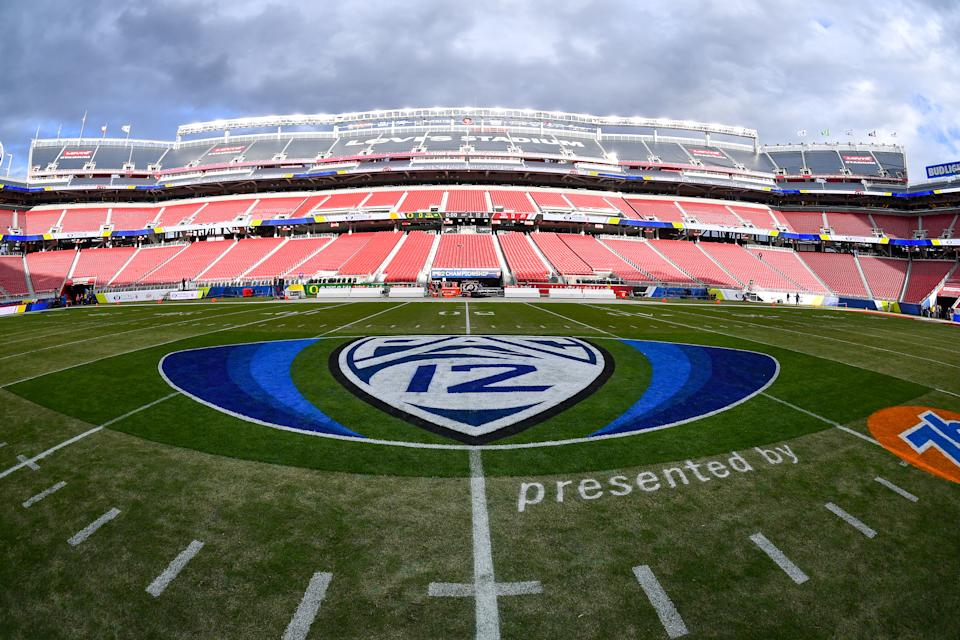 SANTA CLARA, CALIFORNIA - DECEMBER 06: A general interior view of Levi's Stadium during the Pac-12 Championship football game between the Oregon Ducks and the Utah Utes at Levi's Stadium on December 6, 2019 in Santa Clara, California. The Oregon Ducks won 37-15. (Alika Jenner/Getty Images)
