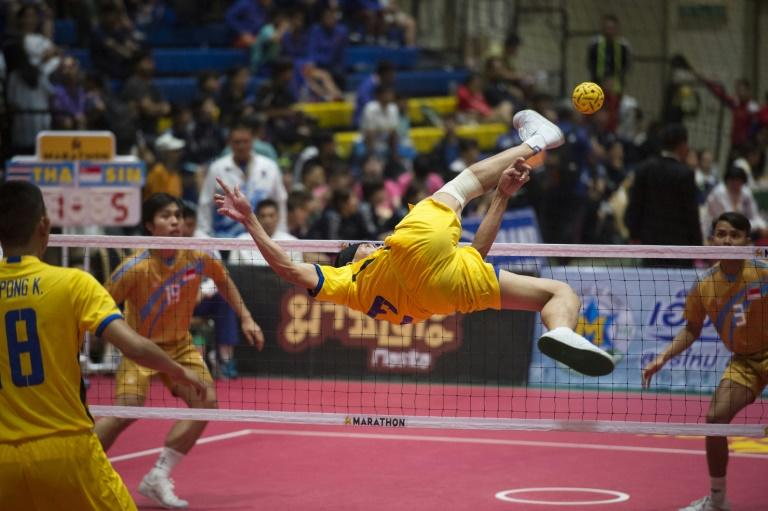 Wildly popular in southeast Asia, this gravity-defying form of 'foot volleyball' has become an Asian Games smash-hit